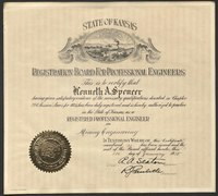 Professional engineering license in mining engineering, presented to Kenneth Spencer, 1932