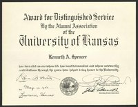 Distinguished Service certificate, awarded to Kenneth Spencer, May 17, 1943