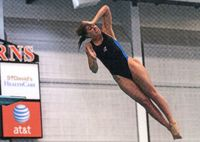 Meredith Brownwell performing a dive.