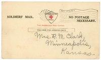 Postcard from Carroll D. Clark to Mrs. R.M. Clark, Minneapolis, Kansas
