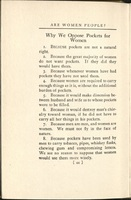 """Why We Oppose Pockets for Women"" from <em>Are Women People? A Book of Rhymes for Suffrage Times</em>, 1915."