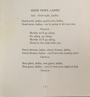 """Good News, Ladies"" from <em>The Suffrage Song Book: Original Songs, Parodies and Paraphrases, adapted to Popular Melodies</em>, 1909."
