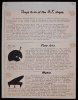 """""""Things to do at the OT [Occupational Therapy] Shops."""" This sheet of paper contains descriptions of the Occupational Therapy shops at Winter VA Hospital. It includes a description of the Fine Arts therapy for which Mary Huntoon was the instructor."""