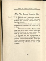 """Why We Oppose Votes for Men"" from <em>Are Women People? A Book of Rhymes for Suffrage Times</em>, 1915."