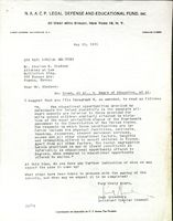 Letter to Charles Bledsoe from Jack Greenburg of the NAACP.