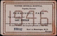 Mary Huntoon's Winter General Hospital Personnel Pass