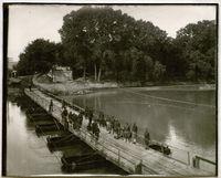 Soldiers on pontoon bridge, Fort Riley, Kansas, 1917