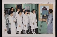 Mary Huntoon meeting with OT [Occupational Therapy] Students. Souvenir Folder [postcards] of Winter Veterans Administration Hospital.